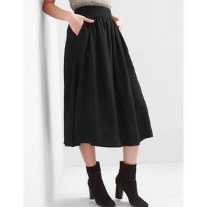 Gap Shirred Midi Swing Skirt - Black